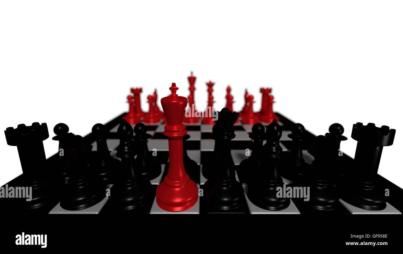 black chess pieces with red king - Stock Image