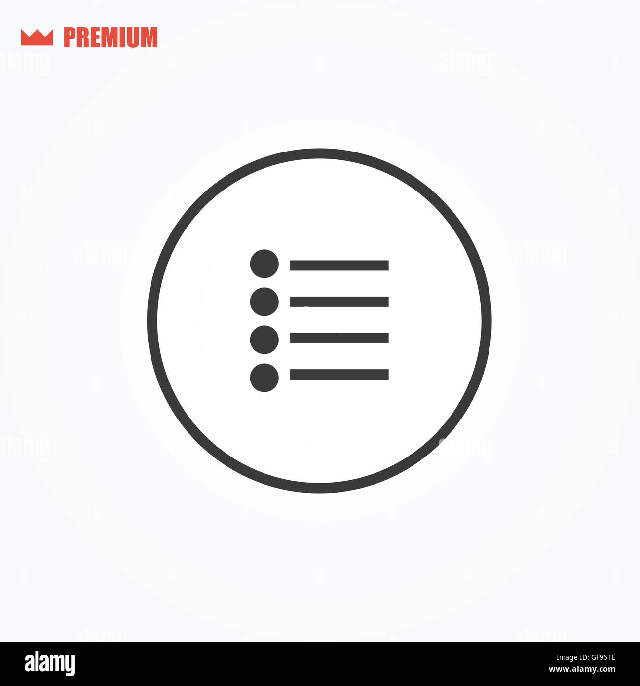 Rounded play-list vector icon - Stock Image