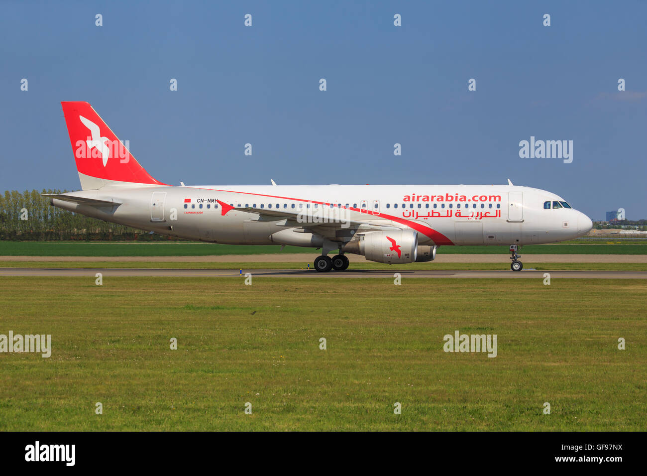 AMSTERDAM, THE NETHERLANDS - MAY, 7. An Airbus A320-214 of Air Arabia Maroc - Stock Image
