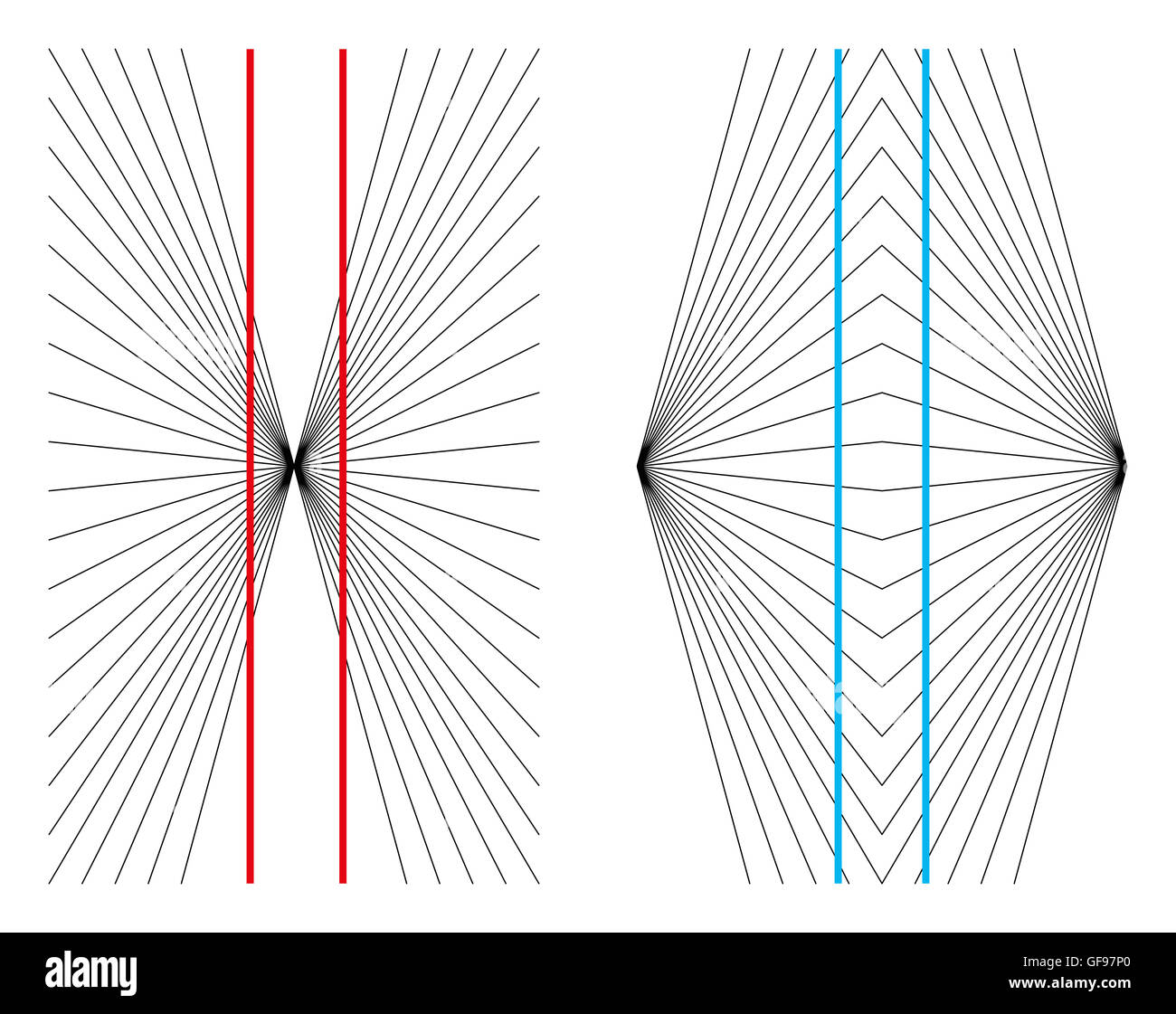 Hering and Wundt geometrical optical illusions. - Stock Image