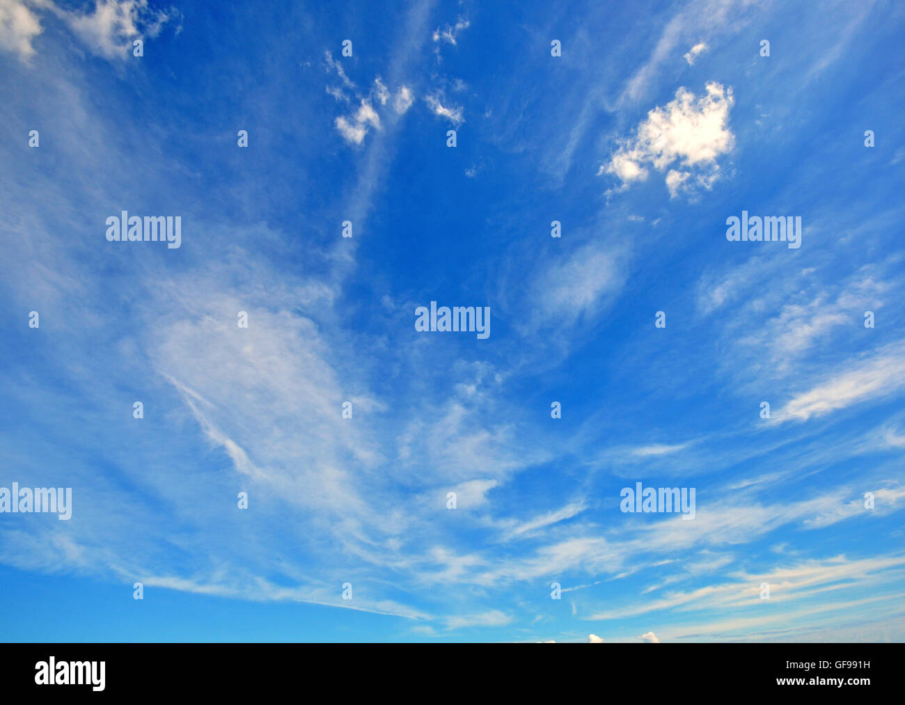 Blue cloudy sky on morning - Stock Image