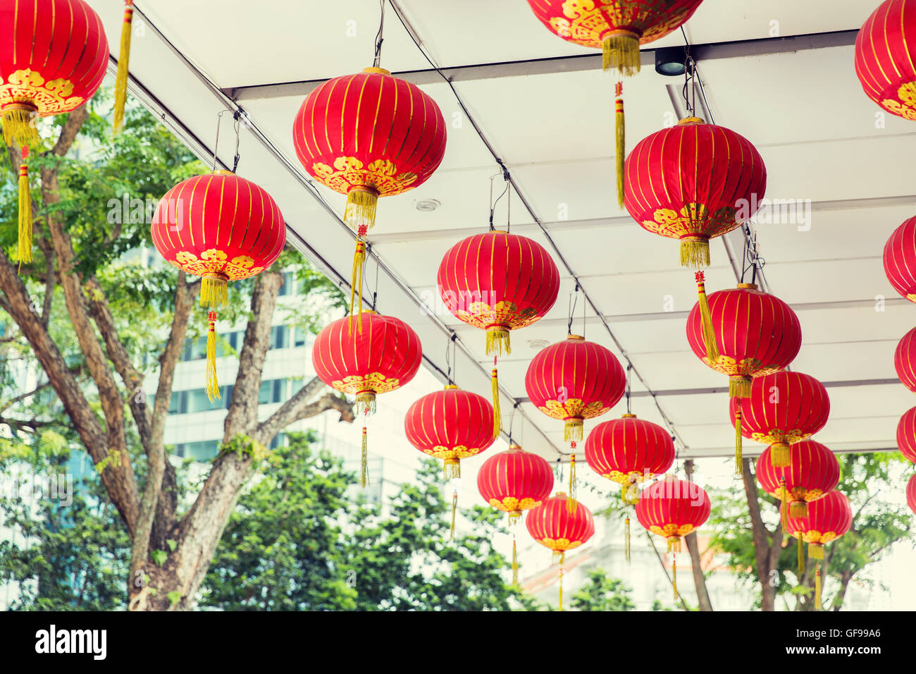 Ceiling Decorated With Hanging Chinese Lanterns Stock Photo