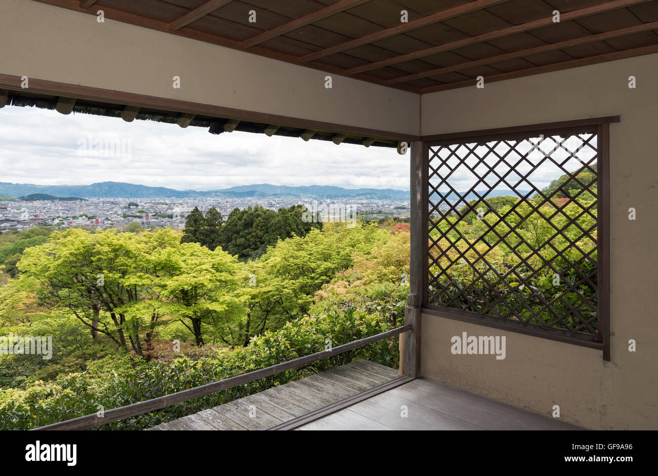 View of Kyoto city from tea house in Okochi Sanso park, Kyoto, Japan Stock Photo