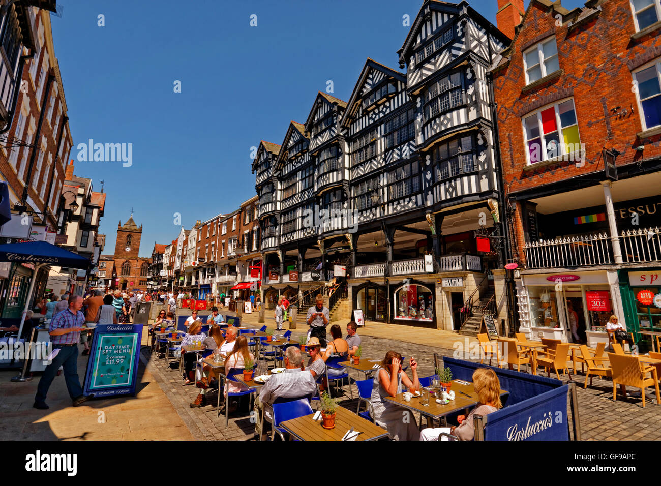 Bridge Street with the Grosvenor Shopping Centre at Chester city centre, Cheshire. - Stock Image