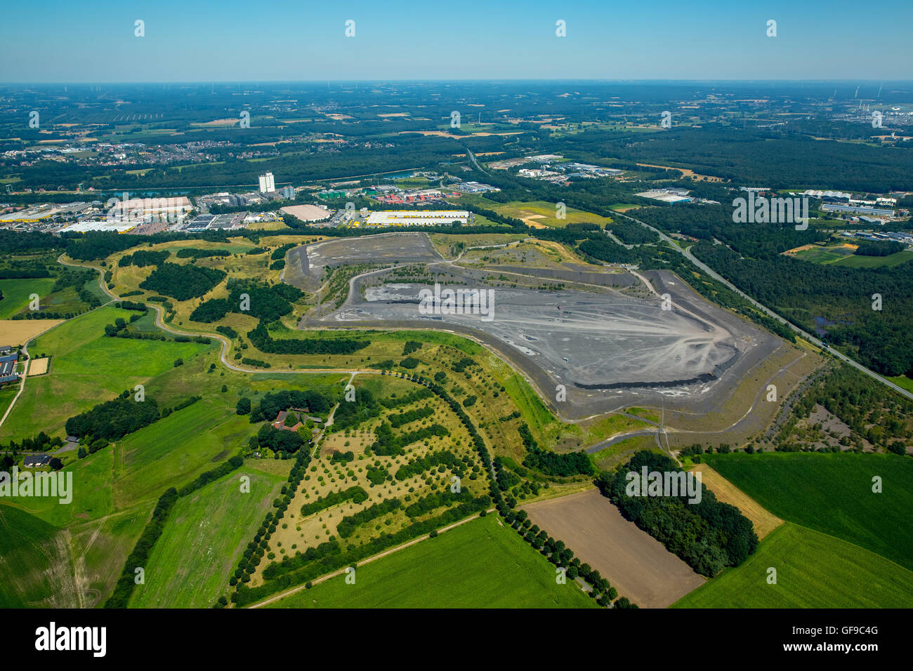 Aerial view, Hürfeldhalde, Bergehalde In Hürfeld, overburden halde coal mining, Dorsten, Rhineland, North Rhine Stock Photo