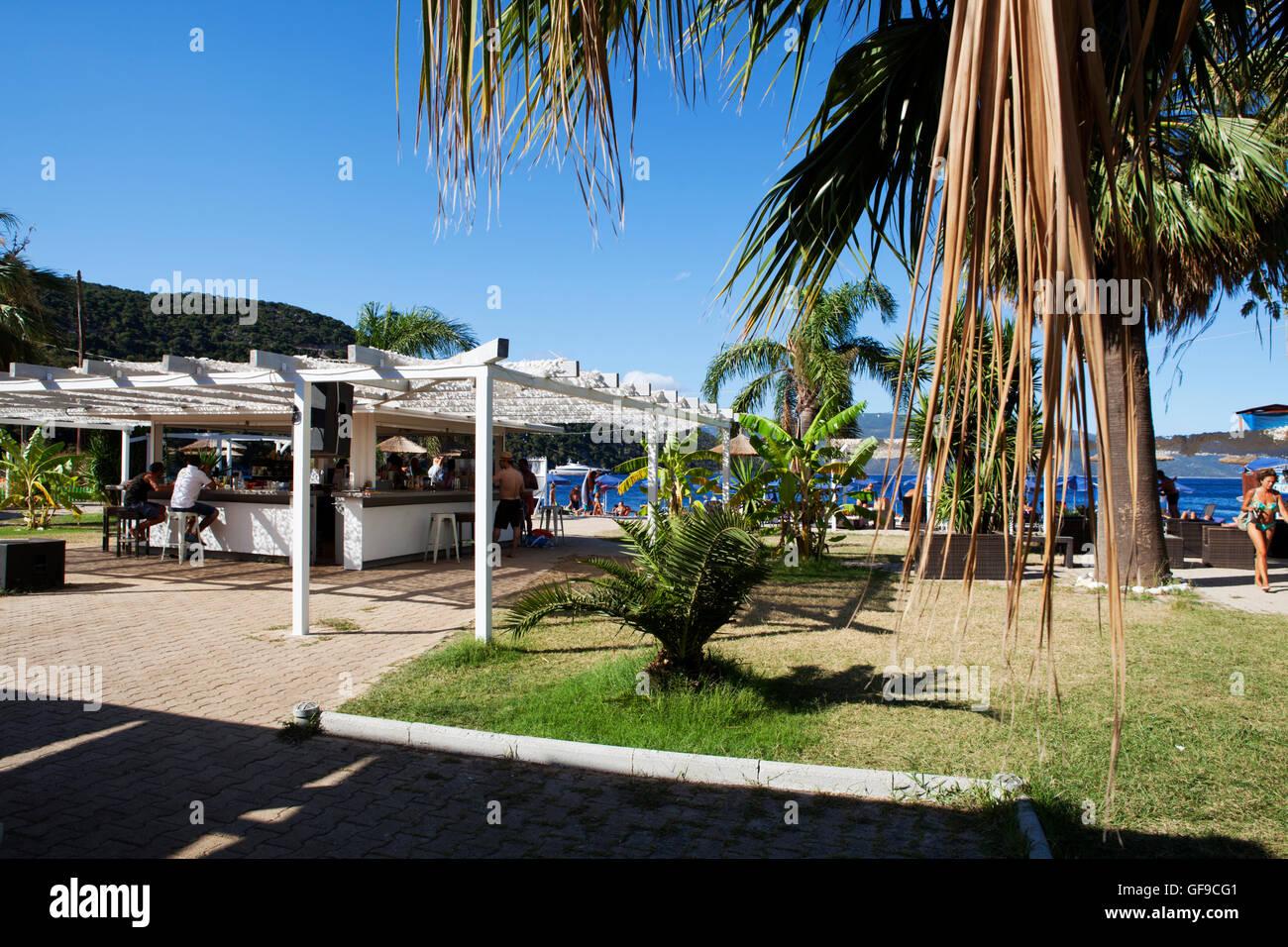 Beach bar at Kefalonia beach Antisamos, Ionian Islands, Greece - Stock Image