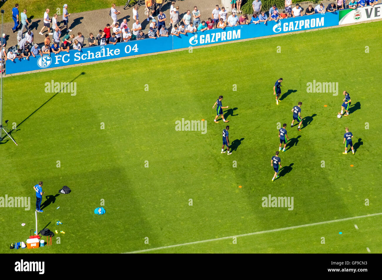 Aerial view, Trainig the Bundesliga team S04 on the practice courts at Charly's Schalke football fans, Gelsenkirchen, - Stock Image