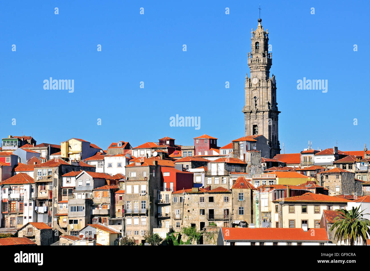 Bell tower and old town of Oporto, Portugal - Stock Image