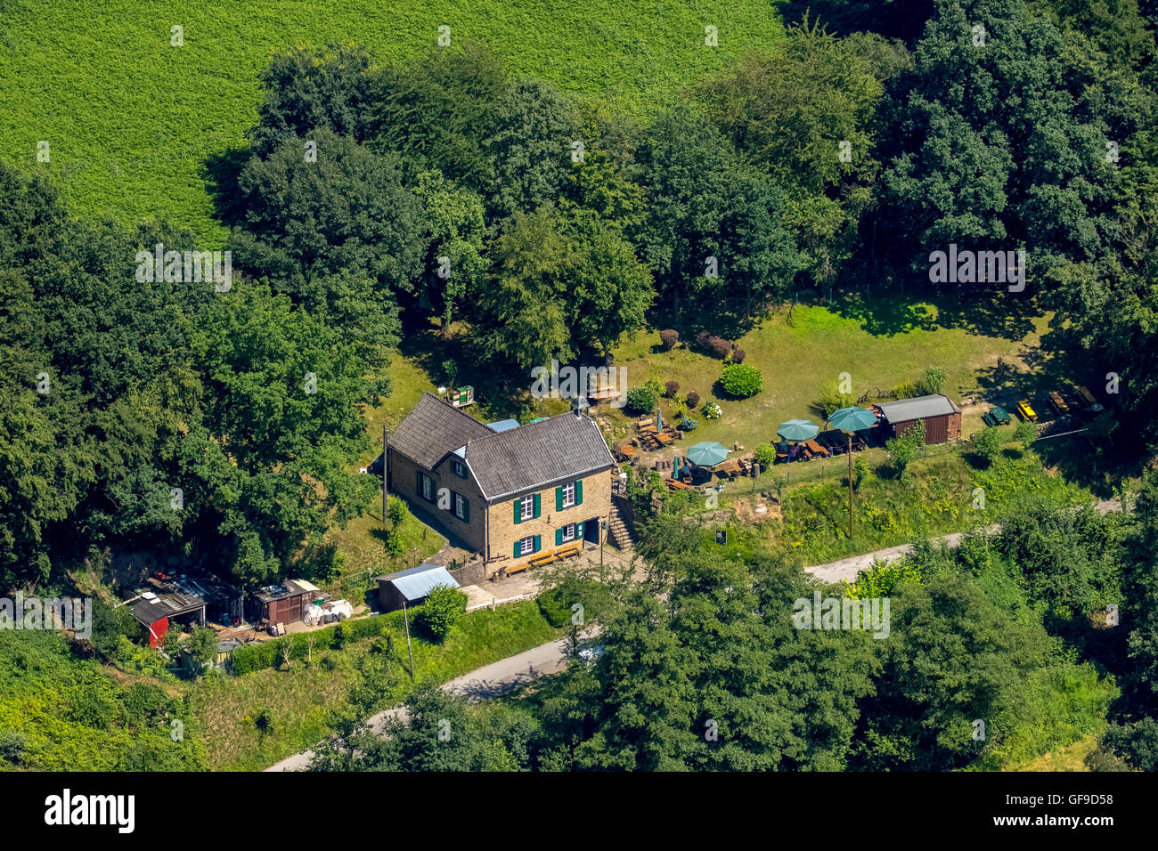 Aerial view, Muttental with prayer house in Muttental with