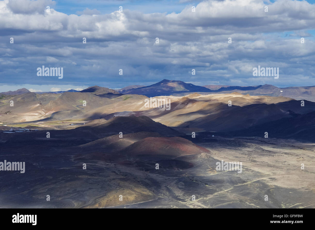 Colorfull hills. Landscape of geothermal field near Mvatmn Lake, Iceland. - Stock Image