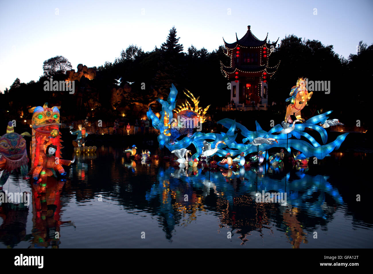 Chinese Lanterns at the Montreal Botanical Gardens. Quebec - Canada. The Garden of Mythical Creatures - Stock Image