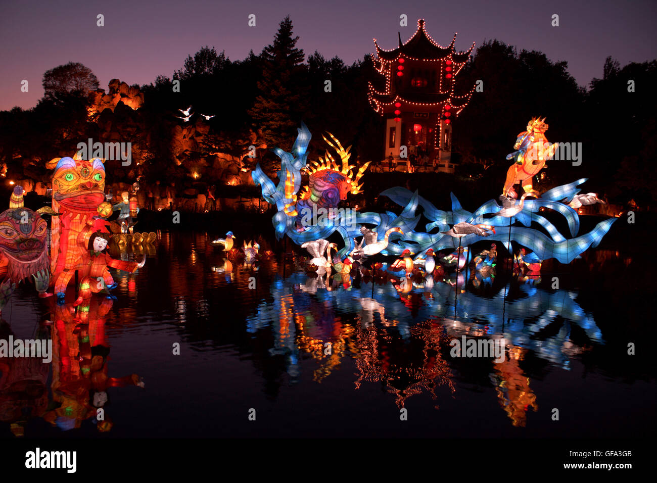 Chinese Lanterns at the Montreal Botanical Gardens. Quebec - Canada. Mythical Creatures - Stock Image