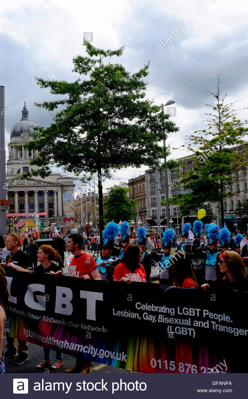 Nottingham, UK. 30th July, 2016. Nottingham Pride parade. Council House LGBT (lesbian, gay, bisexual, transgender) - Stock Image