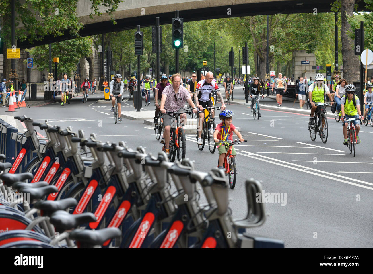 London, UK. 30th July, 2016. Freecycle day, Ride London 2016. Cyclists of all ages riding around central London. Stock Photo