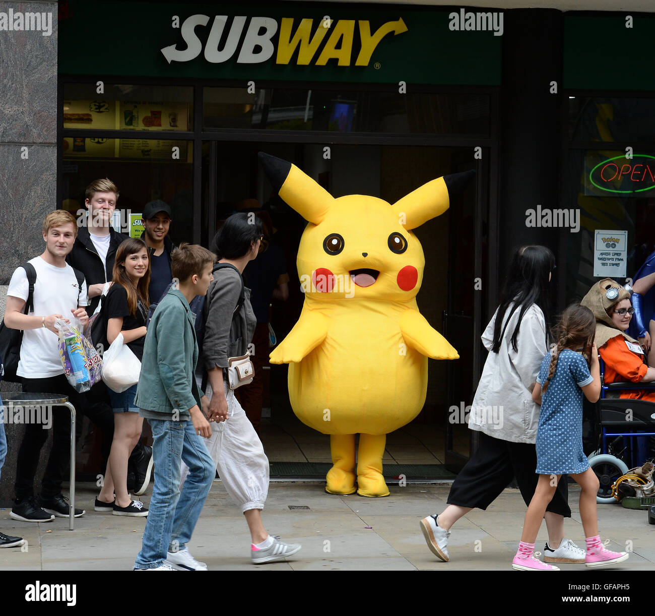 Pikachu The Short Chubby Yellow Pokeman Spotted Out And About In Manchester Even Taking A Minute To Grab Some Lunch At Subway