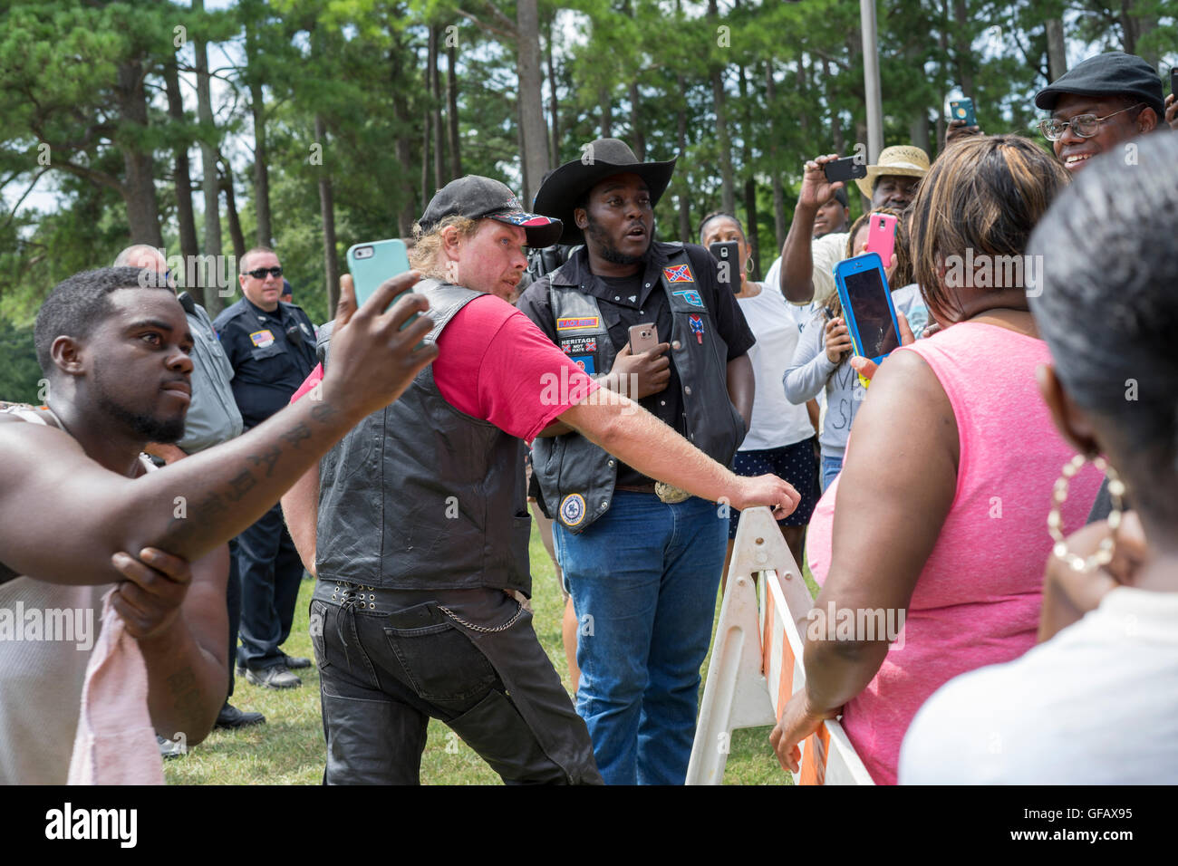 Cell phones were out and words were said at a rally in Tupelo, Ms. on Saturday, July 30th. Folks from Black Lives - Stock Image