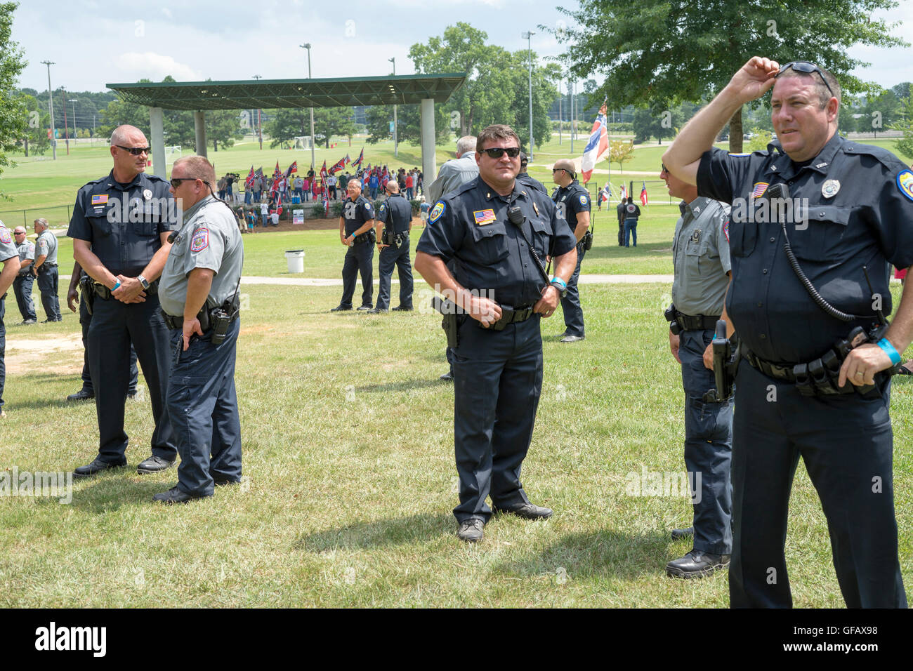 There was plenty of law enforcement on hand during a Black Lives Matter and Blue Lives Matter rally in Tupelo, Ms. - Stock Image