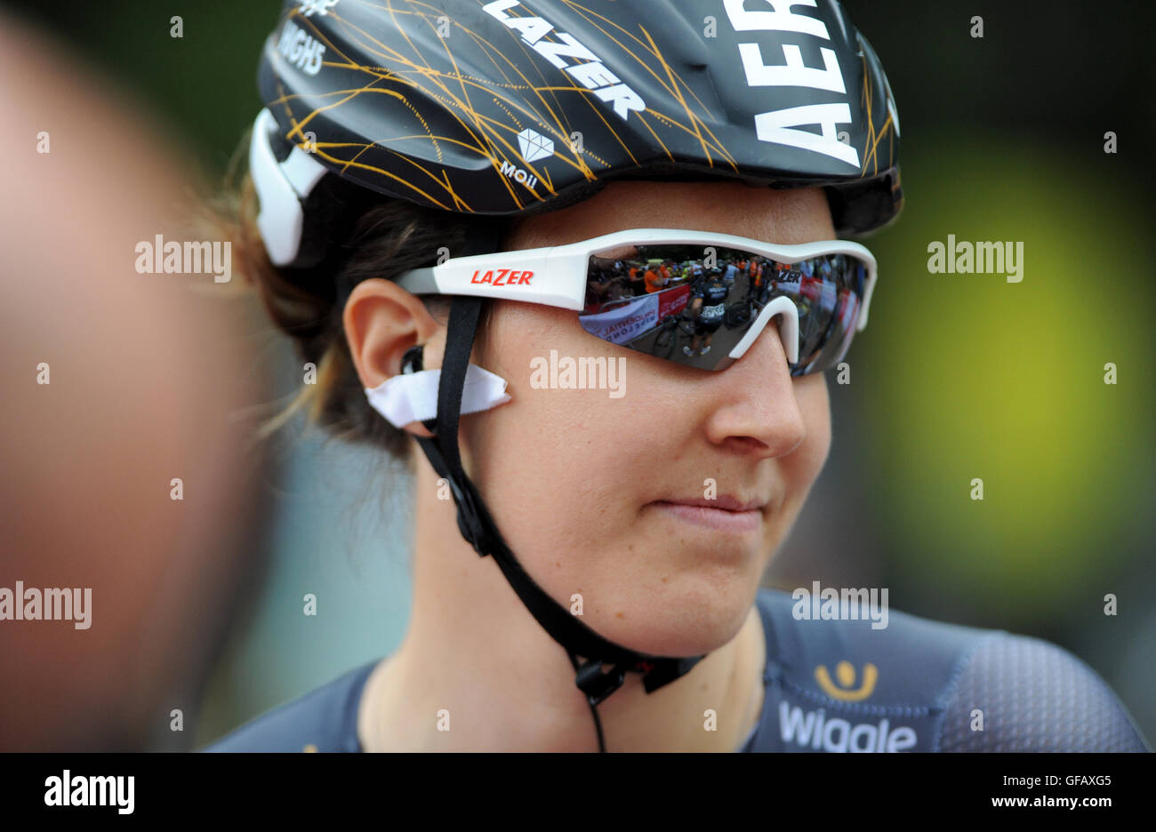 Central London, UK, 30th July 2016. Prudential RideLondon Classique. Dani King of Team Wiggle High5 before the start Stock Photo