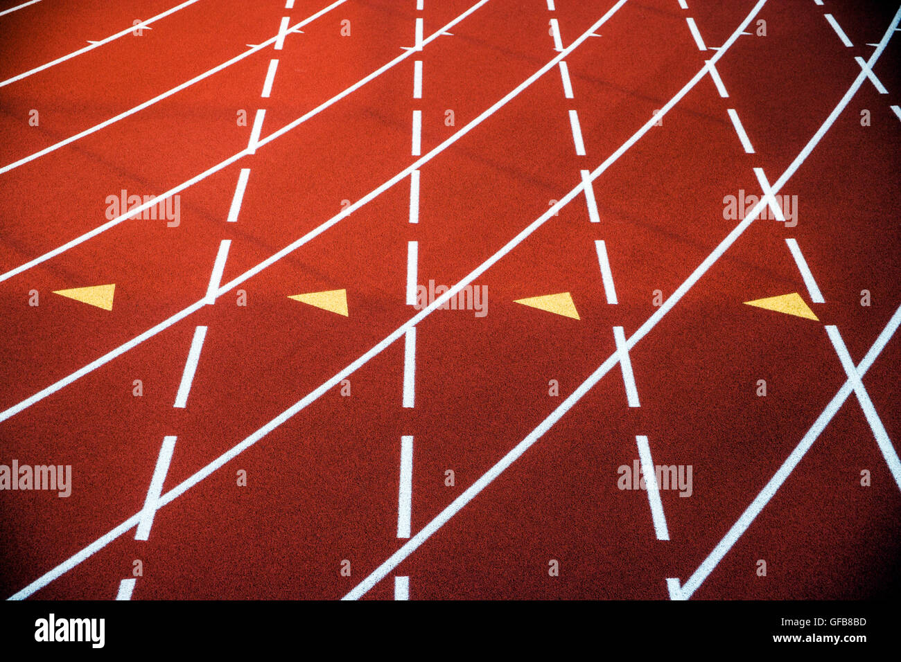 Close up of synthetic track surface at 2nd Annual Pennsylvania Distance Festival track & field meet - Stock Image
