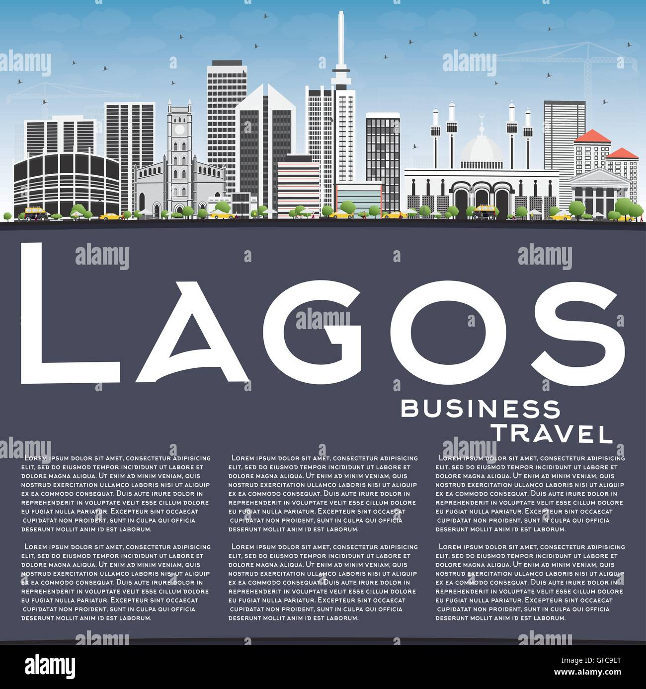 Lagos Skyline with Gray Buildings, Blue Sky and Copy Space. Vector Illustration. Business Travel and Tourism Concept - Stock Image