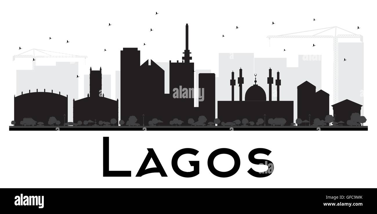 Lagos City skyline black and white silhouette. Vector illustration. Simple flat concept for tourism presentation, - Stock Image