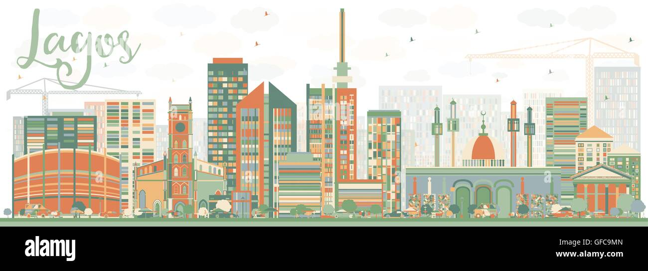 Abstract Lagos Skyline with Color Buildings. Vector Illustration. Business Travel and Tourism Concept with Modern - Stock Image