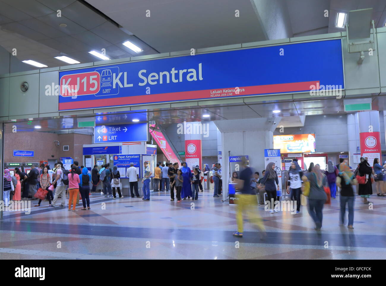 People commute at KL Sentral Station in Kuala Lumpur Malaysia. - Stock Image