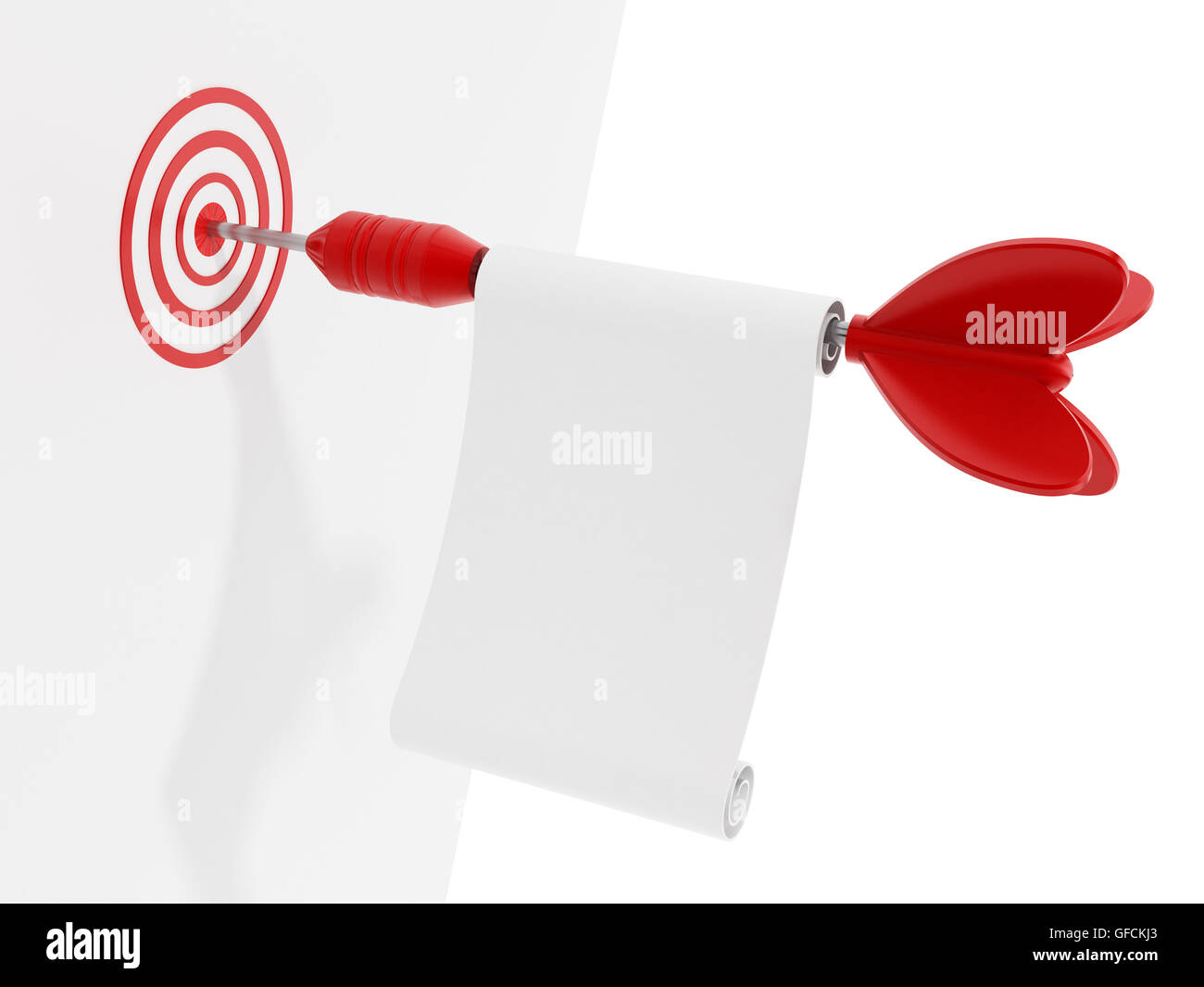 Red dart with a blank paper hits the target. 3D illustration. - Stock Image