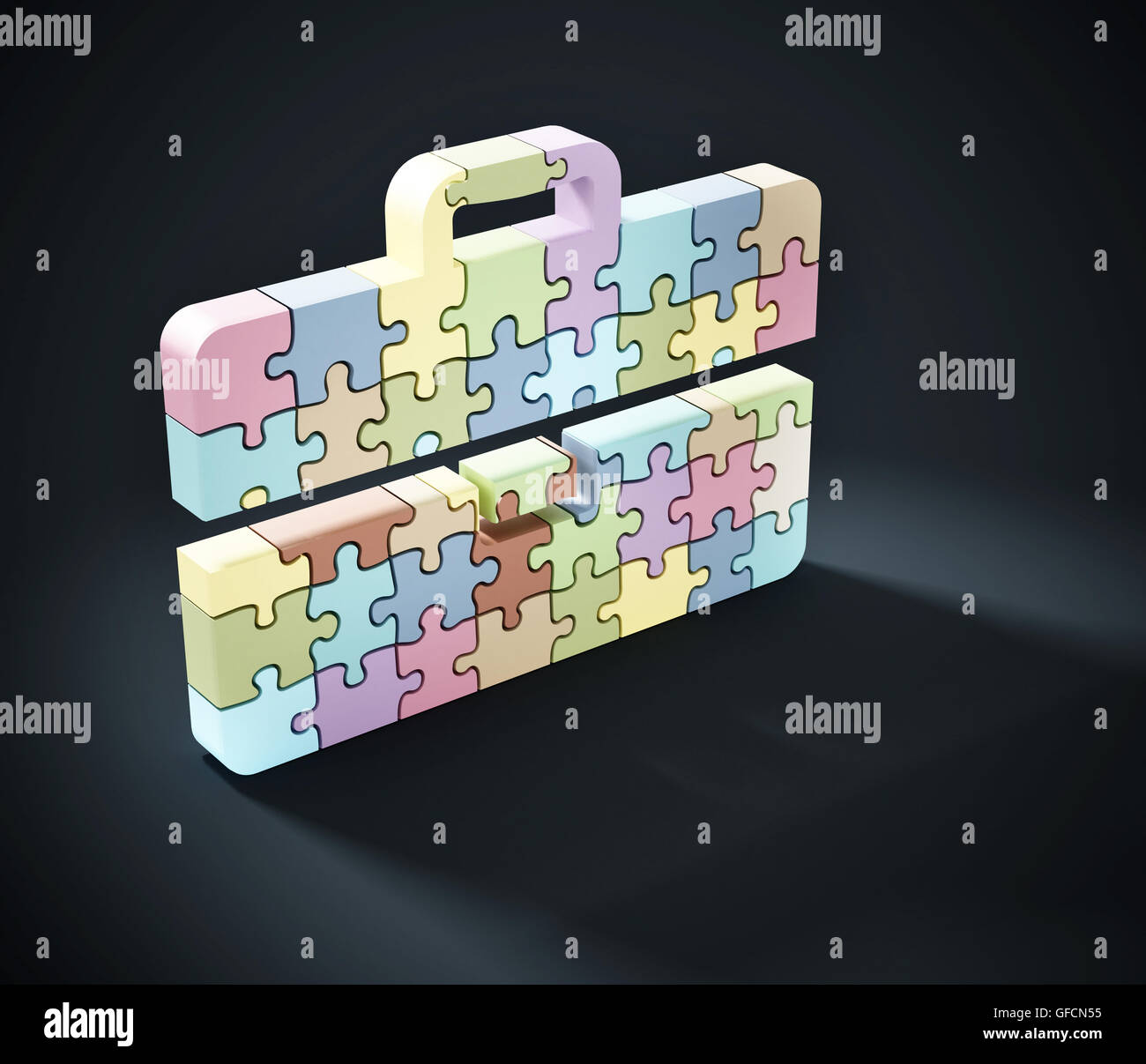 Multi colored puzzle pieces forming briefcase icon. 3D illustration. - Stock Image