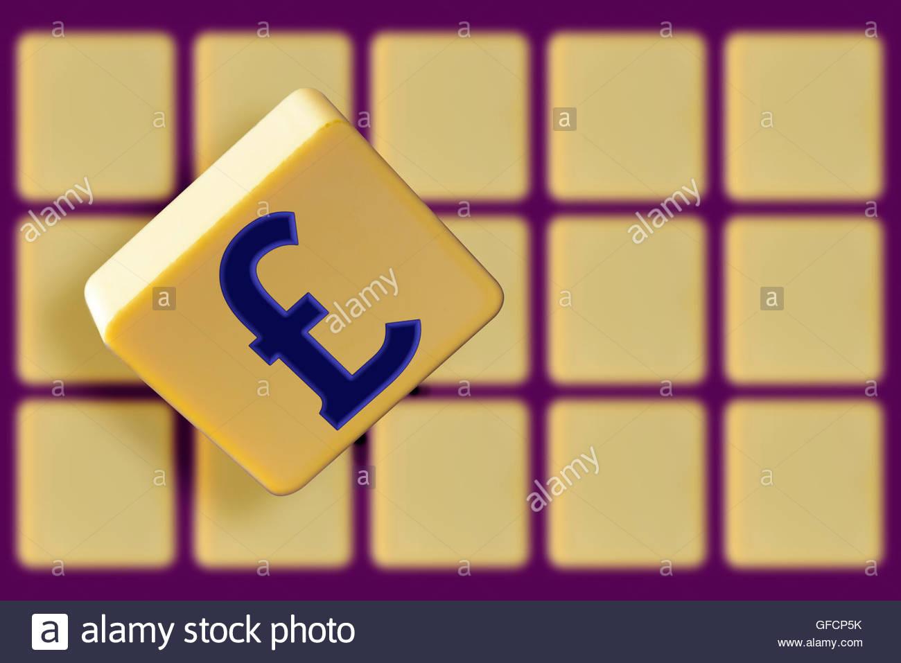 British Pound Sign Word Tiles Stock Photos British Pound Sign Word