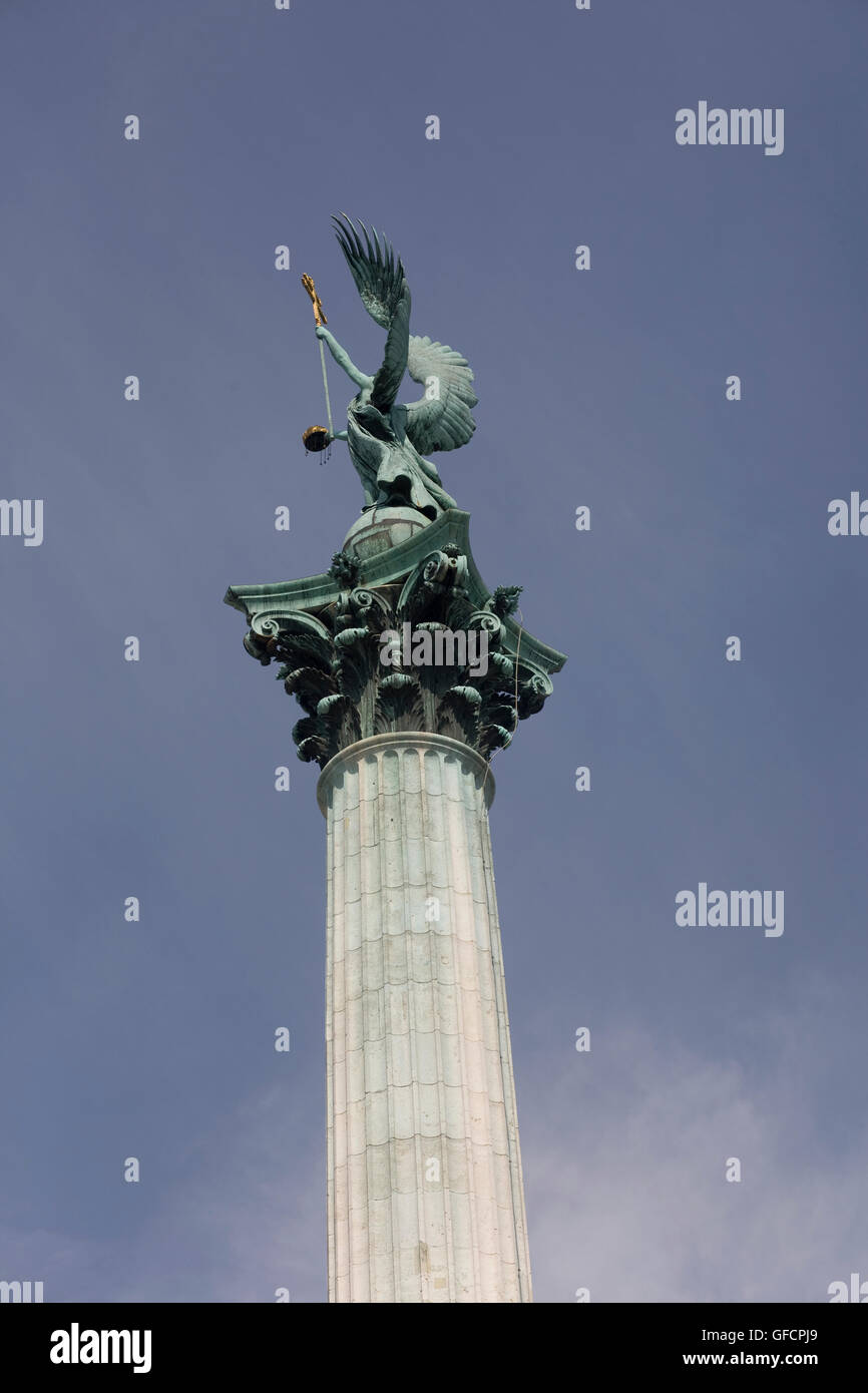 Archangel Gabriel atop Millenary pillar in Heroes square Stock Photo