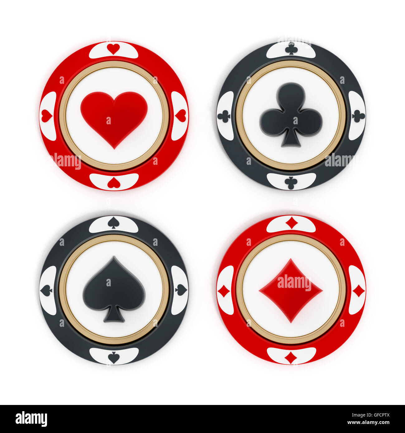 Poke Live Dcf Shapes: Casino Chips With Hearts, Spades, Diamonds And Clubs
