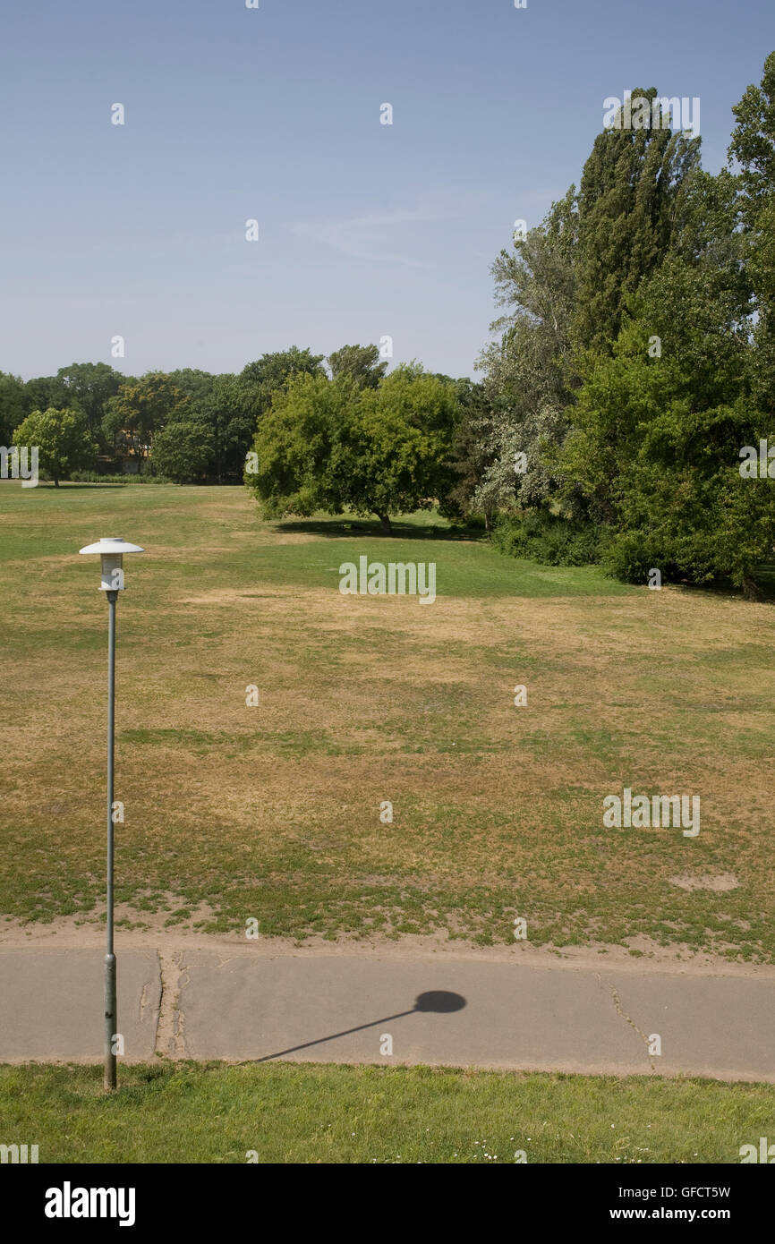 Open space of City park on warm summer Saturday morning - Stock Image