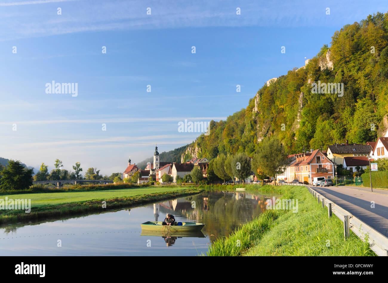 Kallmünz: river Naab , St. Michael church, castle Kallmünz, fisher, Germany, Bayern, Bavaria, Oberpfalz, - Stock Image