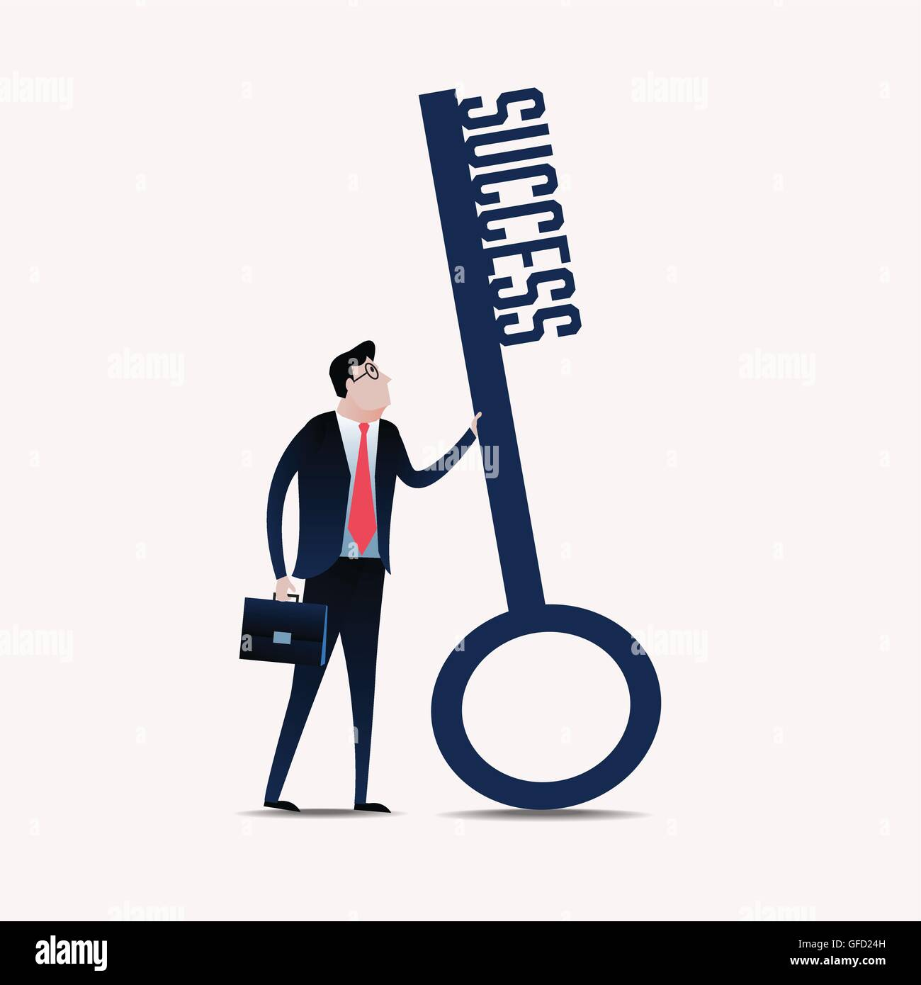 Businessman with a key success. business concept illustration vector - Stock Image