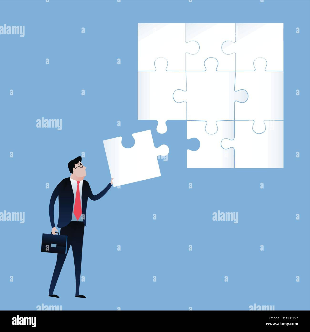 Businessman with final jigsaw piece. business concept illustration vector - Stock Image