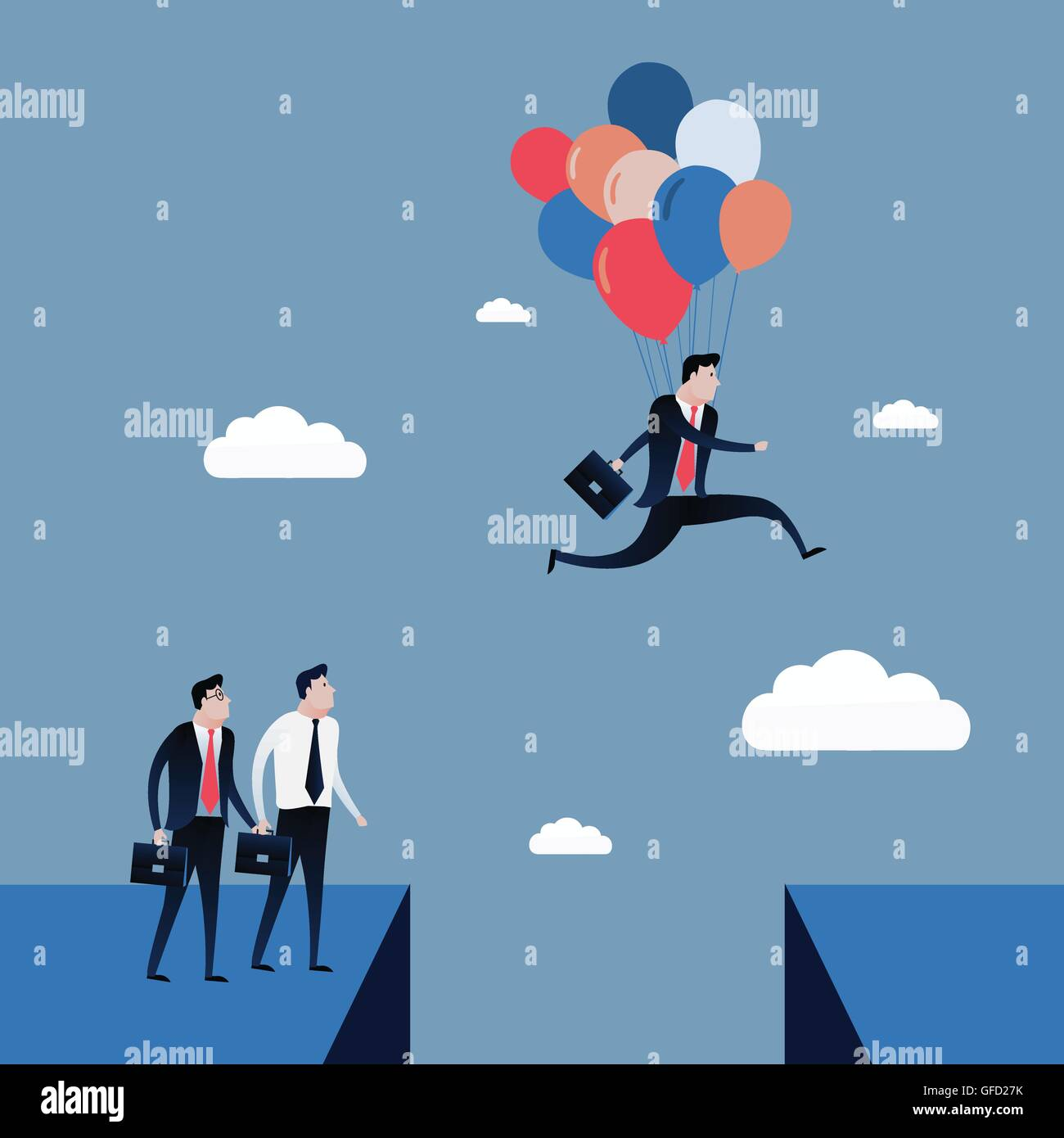 Businessman jumping to the blue sky with balloons. Business concept illustration vector - Stock Image