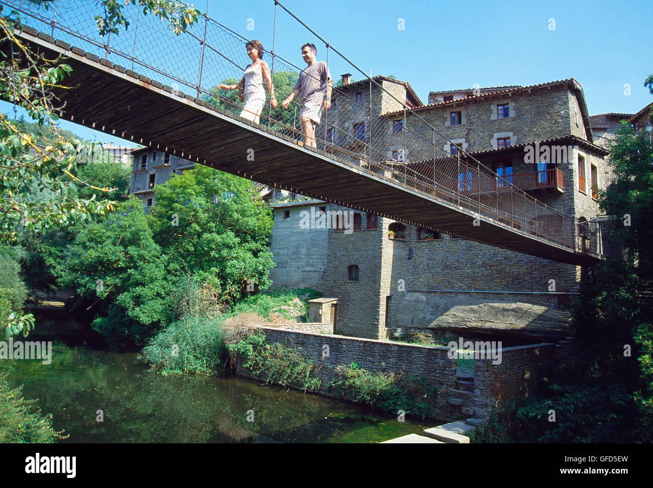 Suspension bridge. Rupit, Barcelona province, Catalonia, Spain. - Stock Image