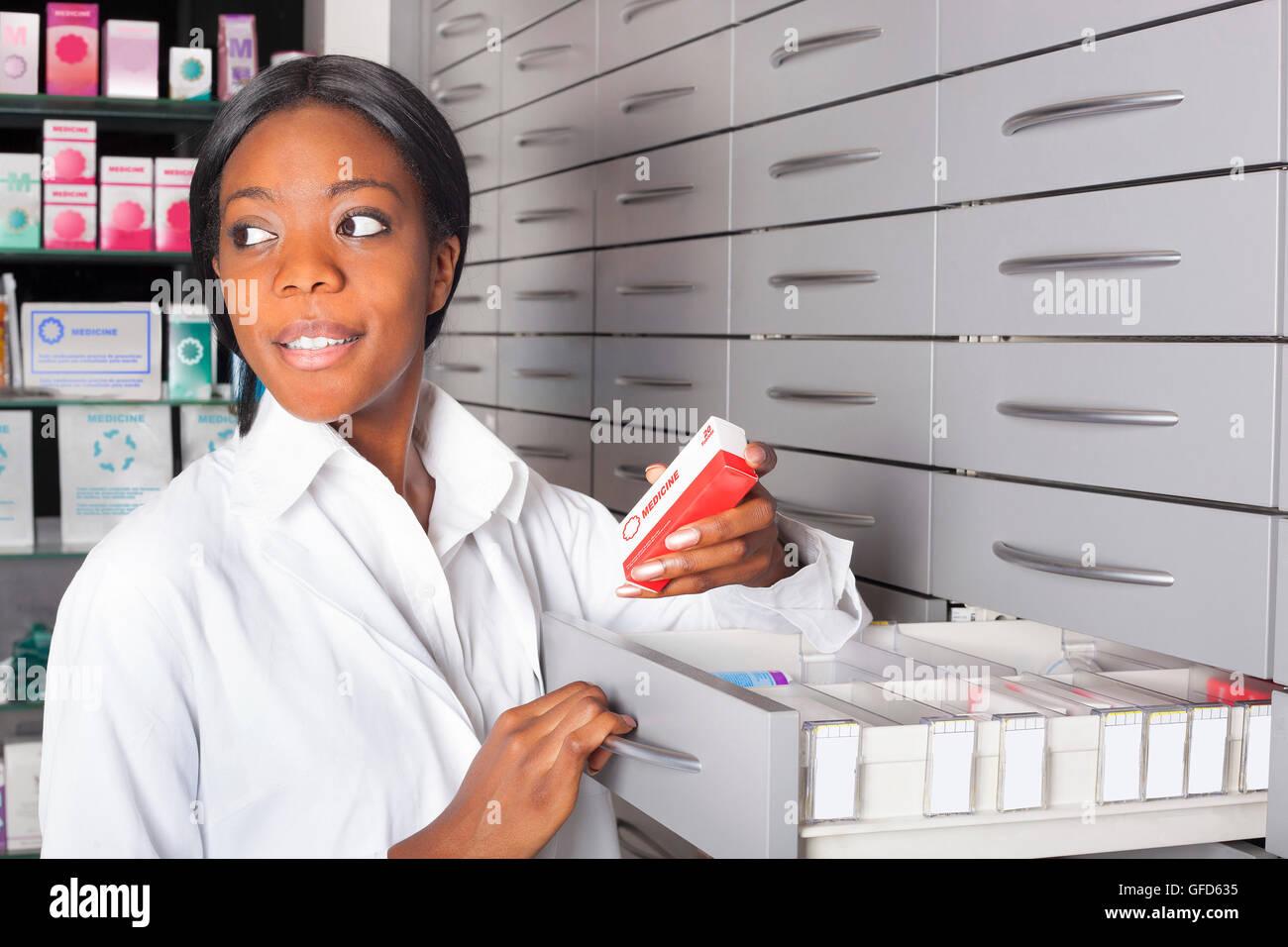Woman Pharmacy Cashier Stock Photos Woman Pharmacy Cashier Stock