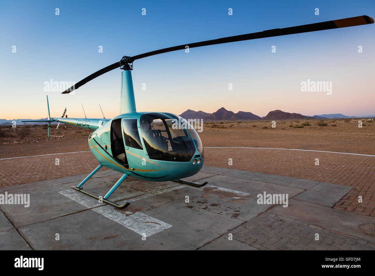 Sightseeing helicopter in the Namib-Naukluft National Park in Namibia. - Stock Image