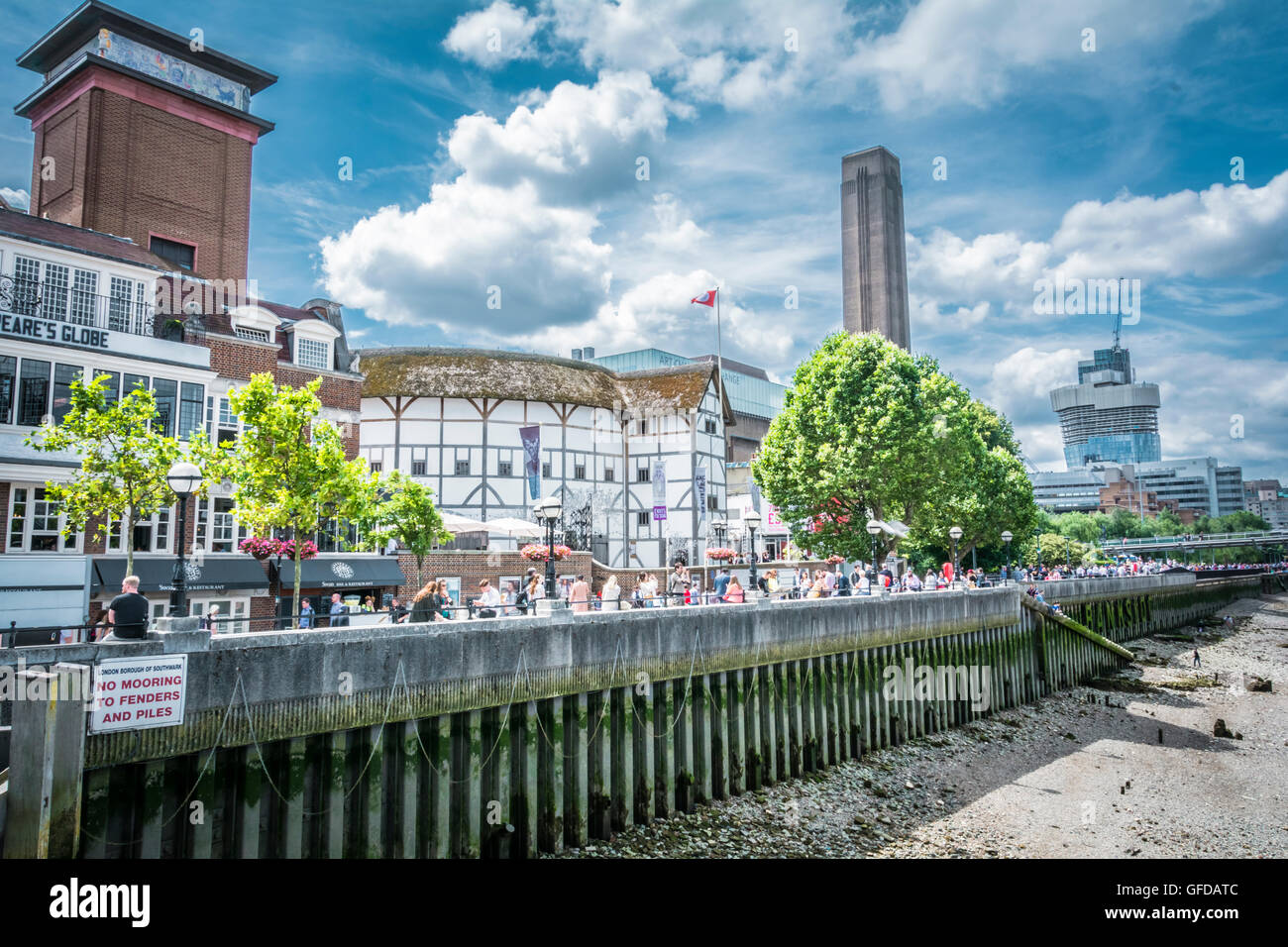 The Globe Theatre and Tate Modern on London's Bankside as seen from the river Thames - Stock Image