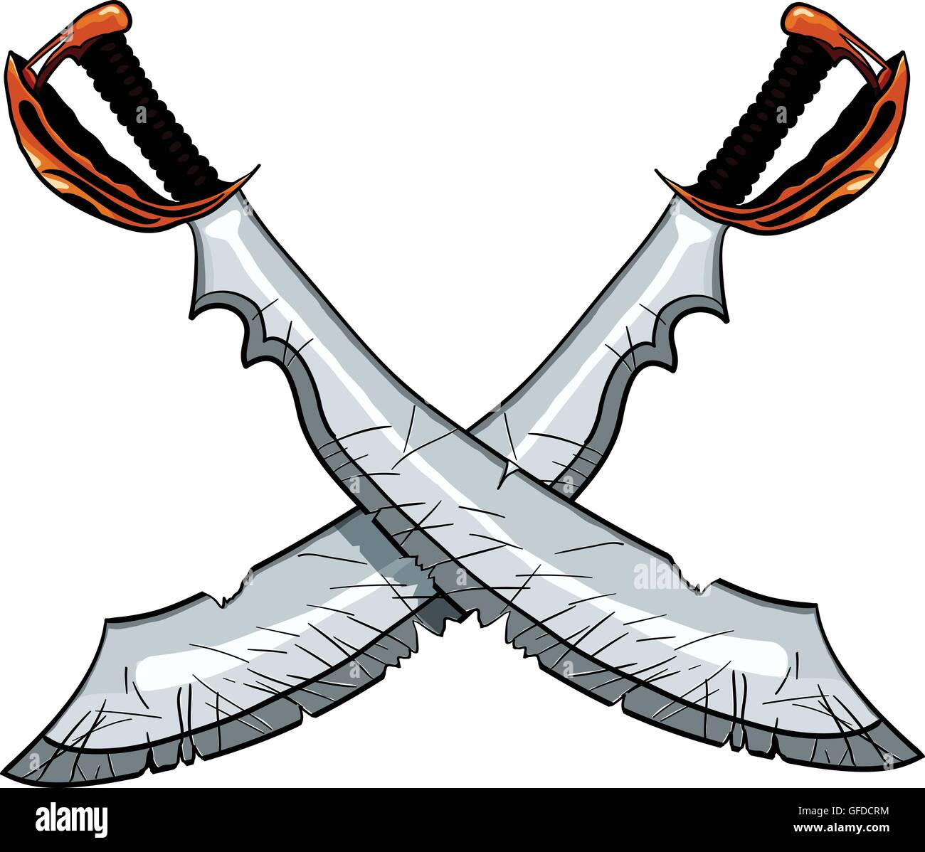 Crossed cutlass pirate sword vector illustration for tattoo or t-shirt design Stock Vector