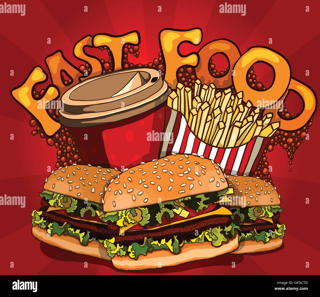 banner with fast food with cola, hamburger and fries - Stock Vector