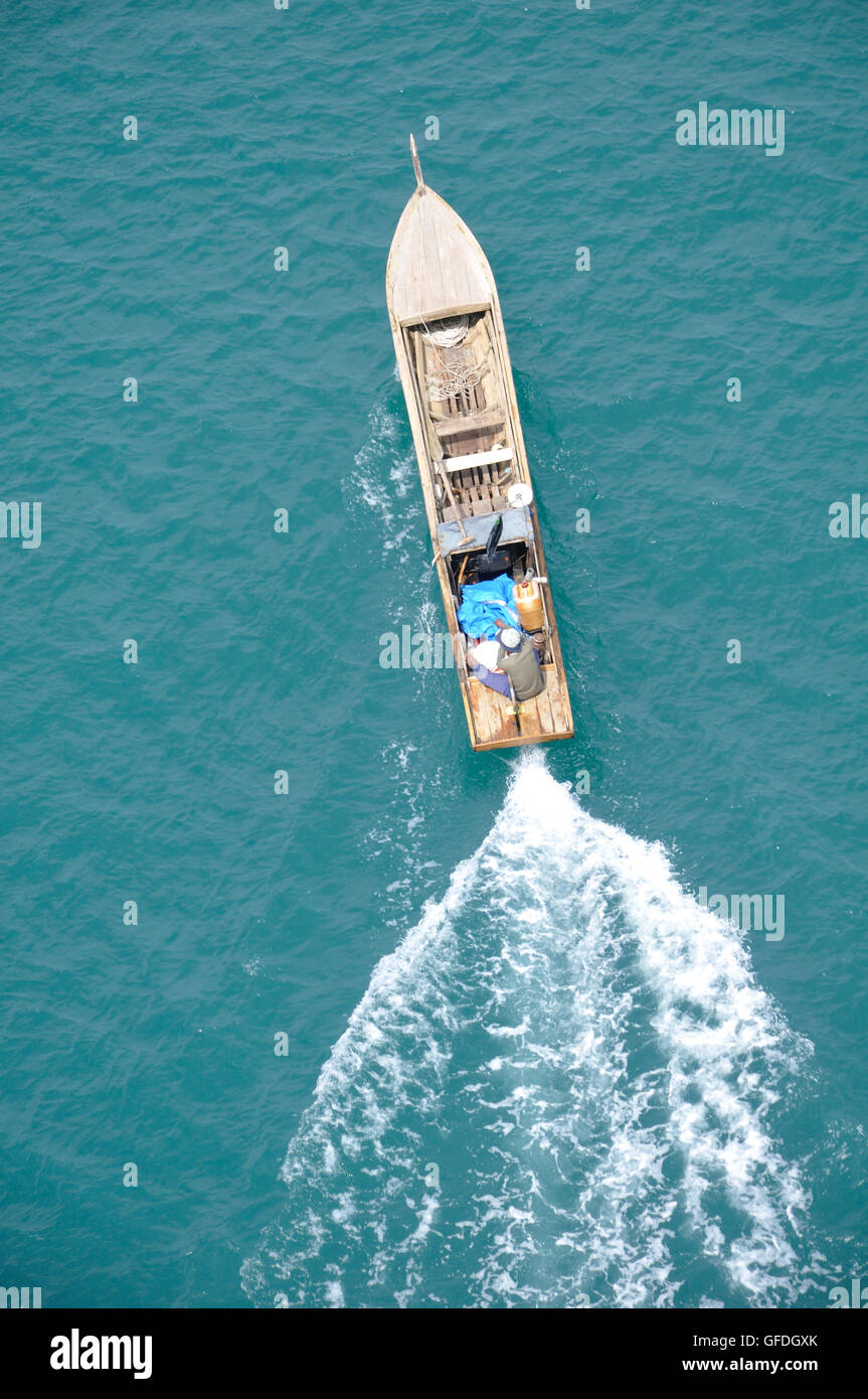 Wooden Fishing Boat in the South China Sea - Stock Image