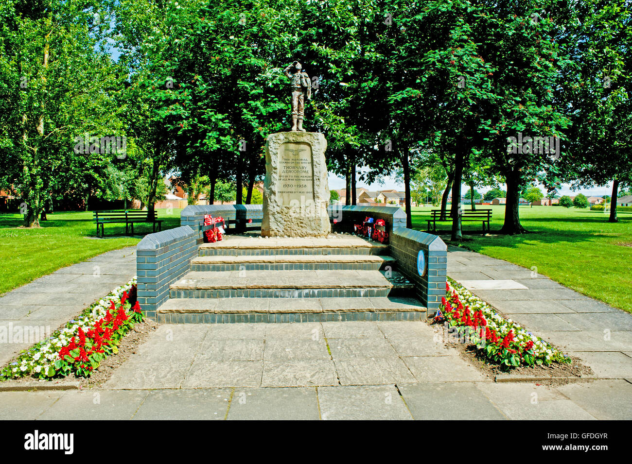 Memorial Statue for Thornaby Aerodrome, Thornaby, Cleveland - Stock Image