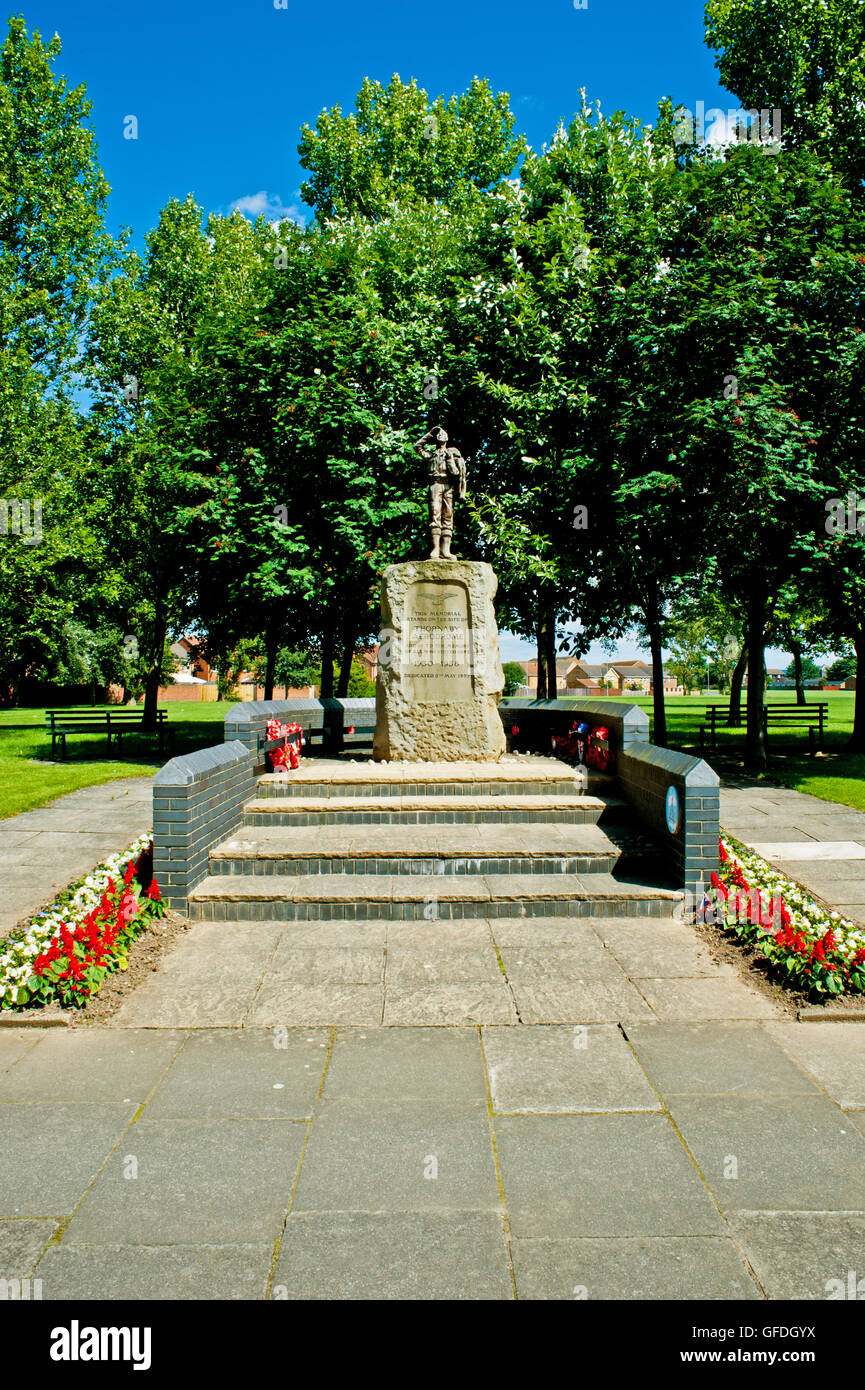 Memorial Statue to Thornaby Aerodrome, Thornaby, Cleveland - Stock Image