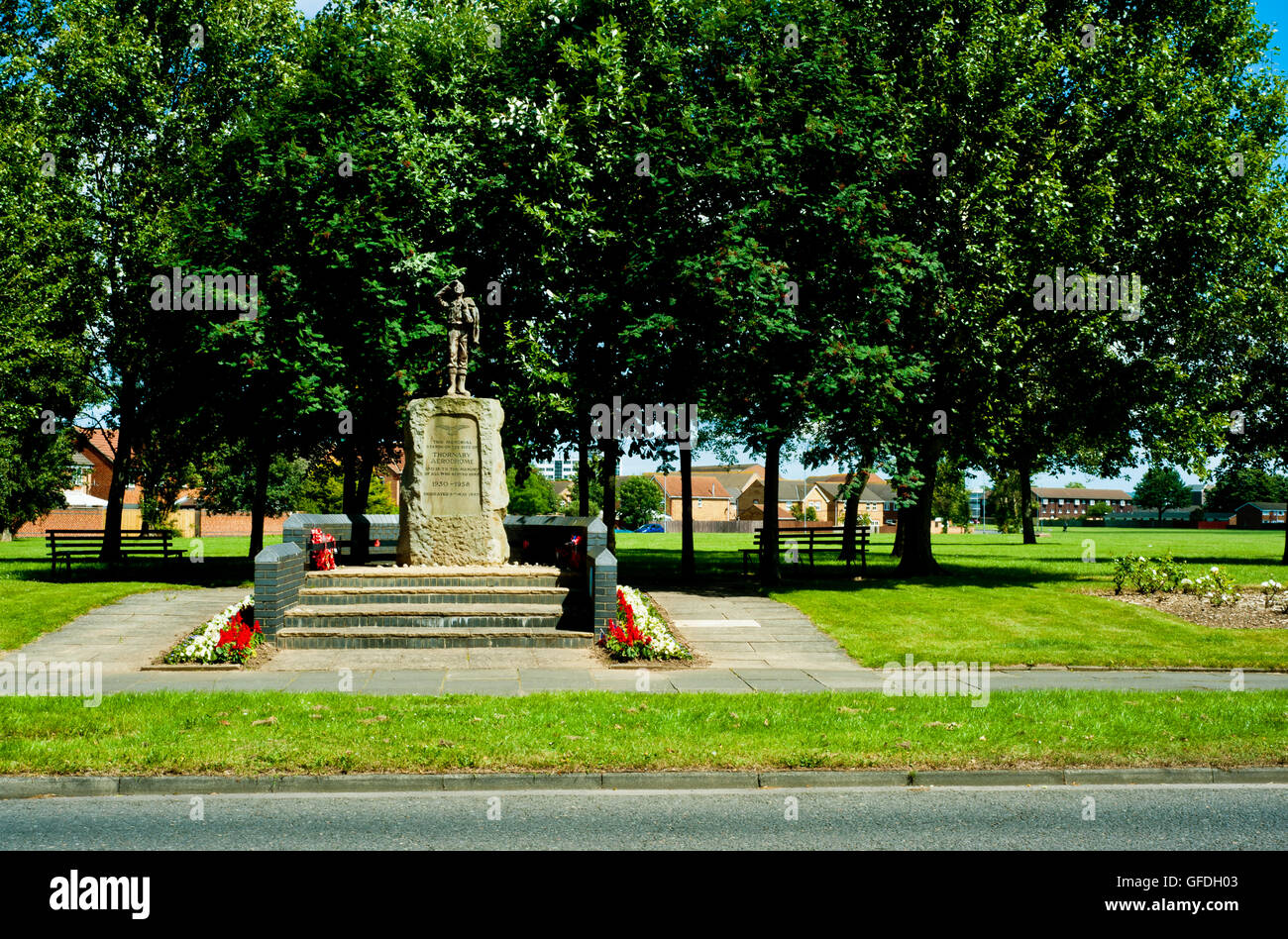 Memorial To Thornaby Aerodrome, Thornaby, Cleveland - Stock Image