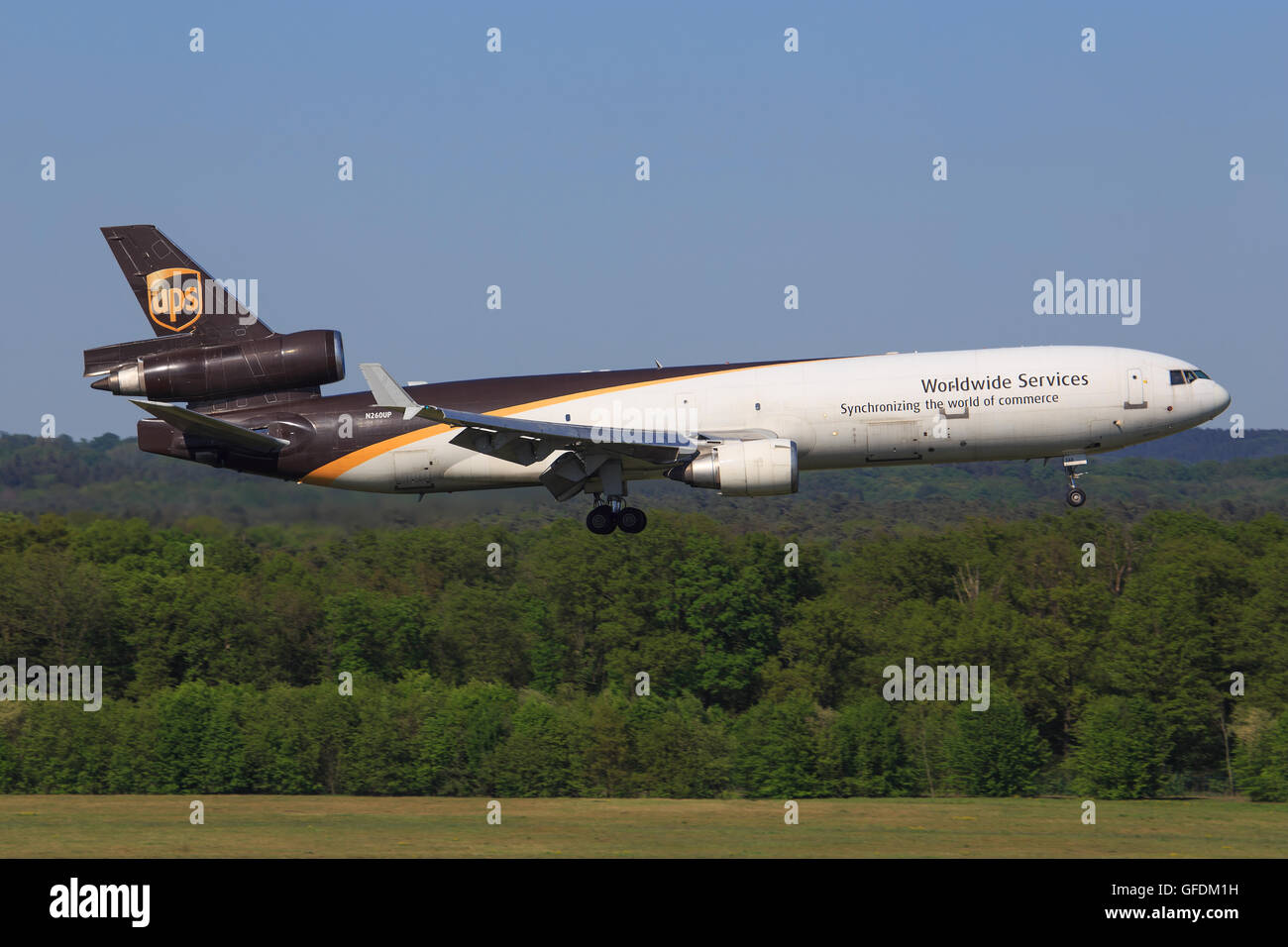 Köln/Germany march 12, 2016: MD11 from UPS landing at Köln Airport - Stock Image