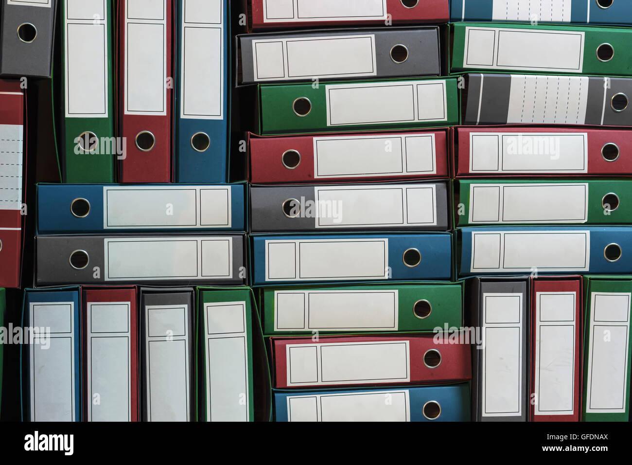 Binders Archive, Ring Binders, Bureaucracy, bookkeeping - Stock Image