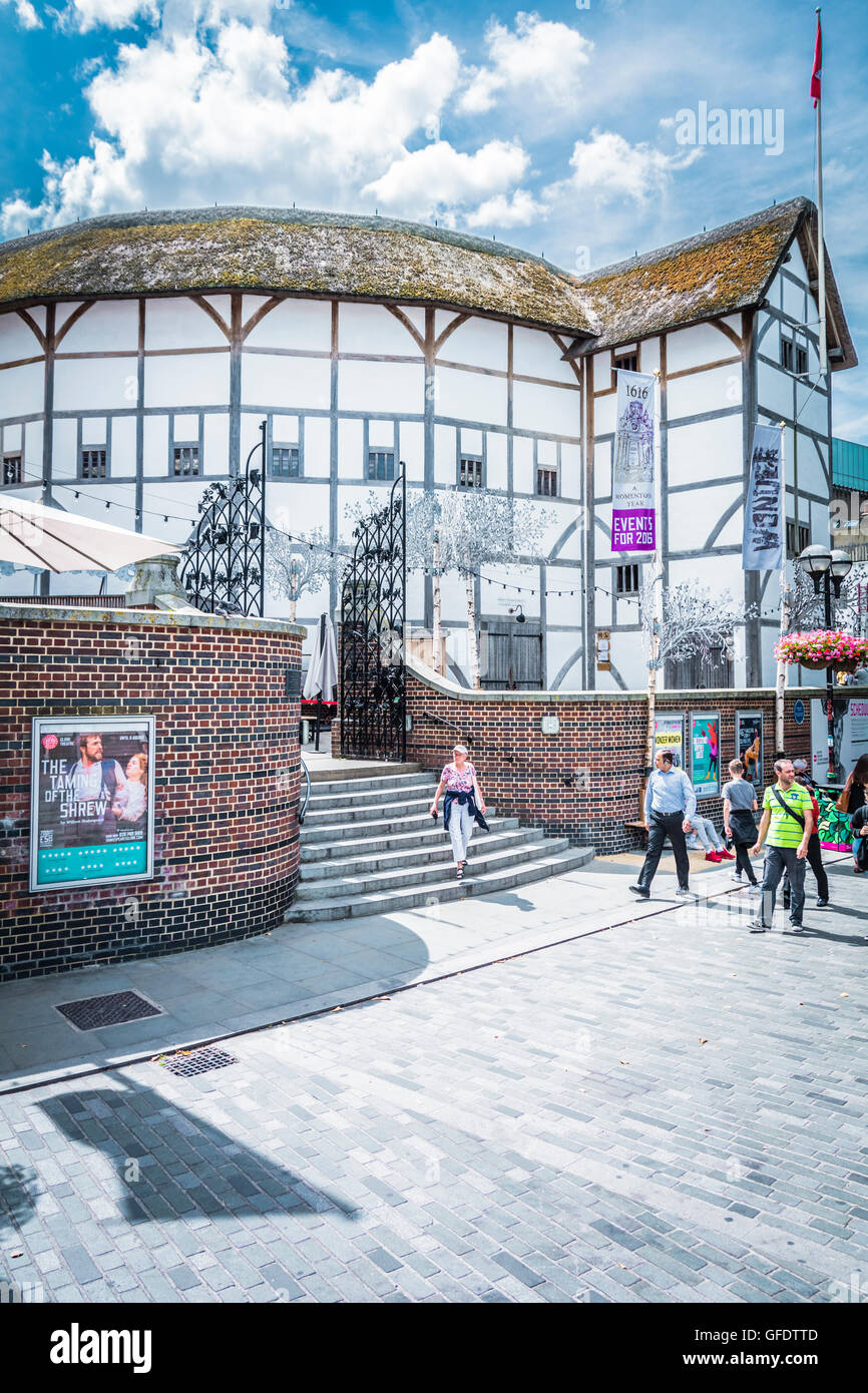 Exterior of Shakespeare's Globe theatre at Bankside on the river Thames. - Stock Image